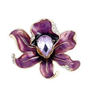 Flower Enamel Crystal Brooch